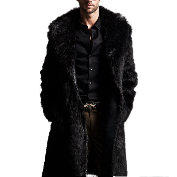 Wholesale- Men Winter Coats Rabbit Faux Fur Long Jackets Men Coat Long Sleeve Turn-Down Collar Coat Men Long Outwear Coat