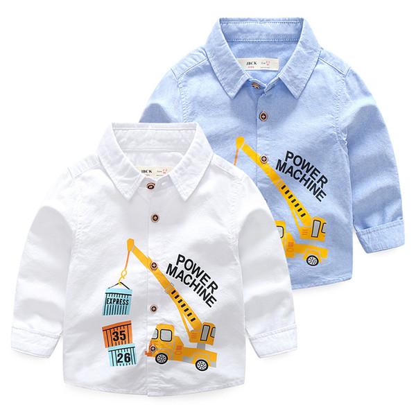 Boutique Oxford boys shirts pure cotton power machine printedtop quality kids clothing wholesale cheap China 90-100-110-120-130 5pcs/lot