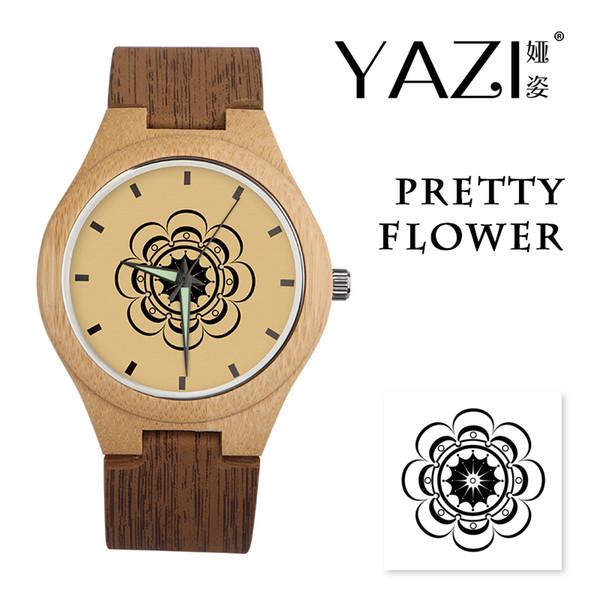 YAZI natürliche hölzerne Uhr für Liebhaber mit hölzernem Streifen-Band-Armbanduhrblumenmuster Glücklicher Logo-Quarz passt kein wasserdichtes an