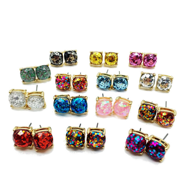 14 Styles Fashion Prong Setting Round Druzy Stud Earrings Rock Lava Crystal Gold Plating Druzy Drusy Earring Jewelry For Women Lady H639R