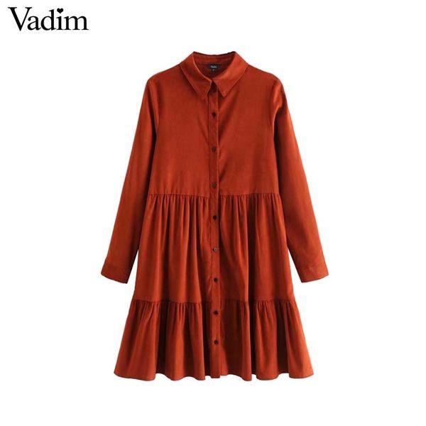 Vadim mujer pana vestido plisado camisa de manga larga gire el cuello elegante chic mujer mini vestido casual vestidos QA659