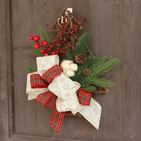 Christmas Wall Hanging Decorations.Christmas Wreath Door Wall Ornament Christmas Tree Hanging Decoration Flower Bow Home Decorations Wall Hanging Christmas Decor D18111202 Christmas