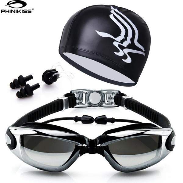 top popular Swim Goggles With Hat and Ear Plug Nose Clip Suit Waterproof Swim Glasses anti-fog Professional Sport Swim Eyewear Suit 2021
