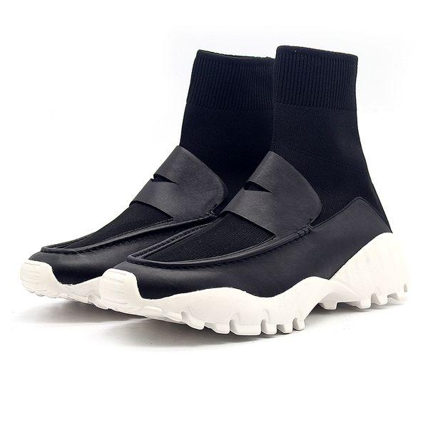 Bottines homme Chaussures plates unisexe Stretch Fabric Femmes Automne hiver chaussures tricot ultra légères mocassins résistants à l'usure bottes de sport noir blanc