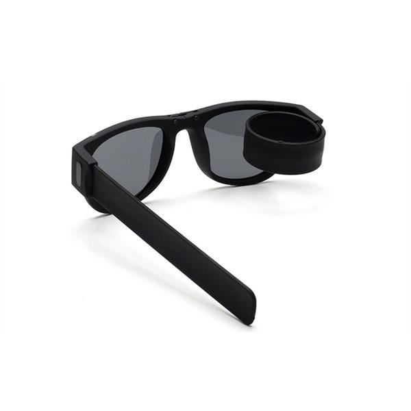 2018 Mini Folding Polarized Sunglasses Women Men Cool Trendy Outdoor Sport Slap Shades Sunglasses UV400 Black Bracelet Oculos