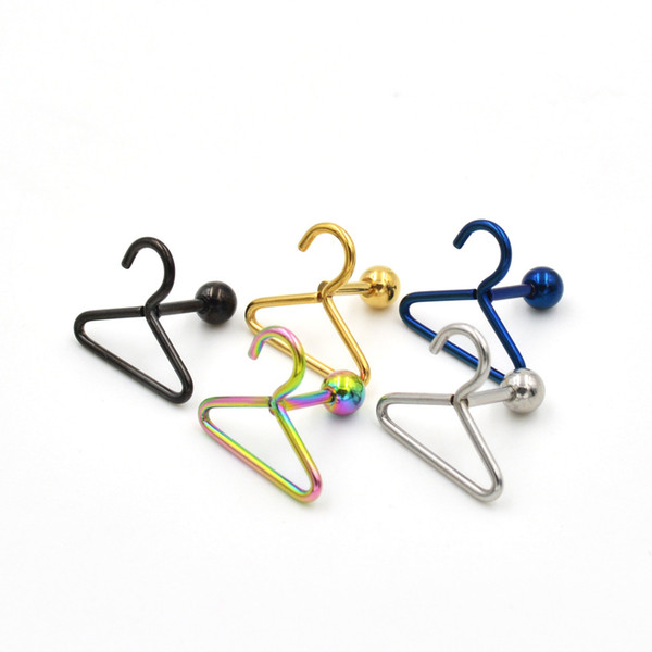 Stainless steel coat hanger earring hanger earrings human piercing hanger nose ring nose nail Silver / black / gold / colorful 1*15mm