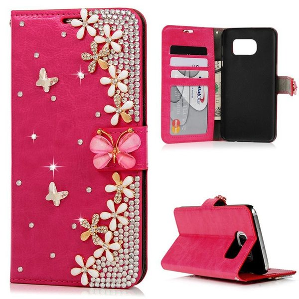 Luxury Flip PU Leather Wallet Card Case, Fashion Bling Diamond Butterfly Phone Case for Iphone5/ Iphone5S/ Iphone6/ Iphone6S/ Iphone6Plus/ I