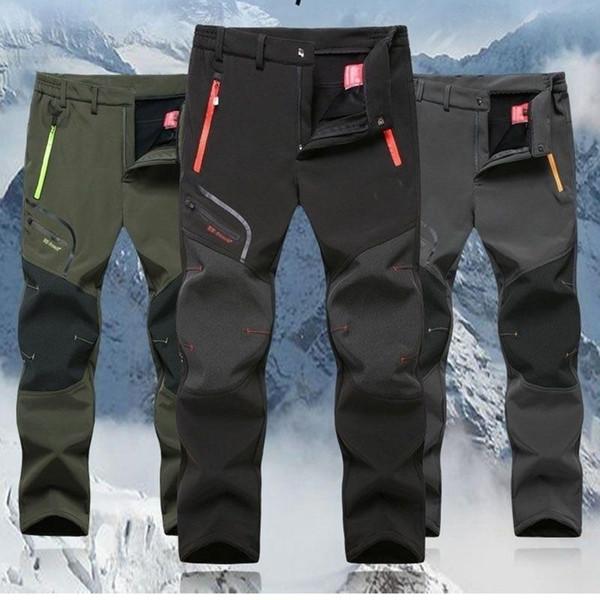 JIANYE Pantalones Trekking Hombre Pantalones Softshell Mujer Calentar Escalada Pantalones Monta/ña Invierno Pantalones Caza