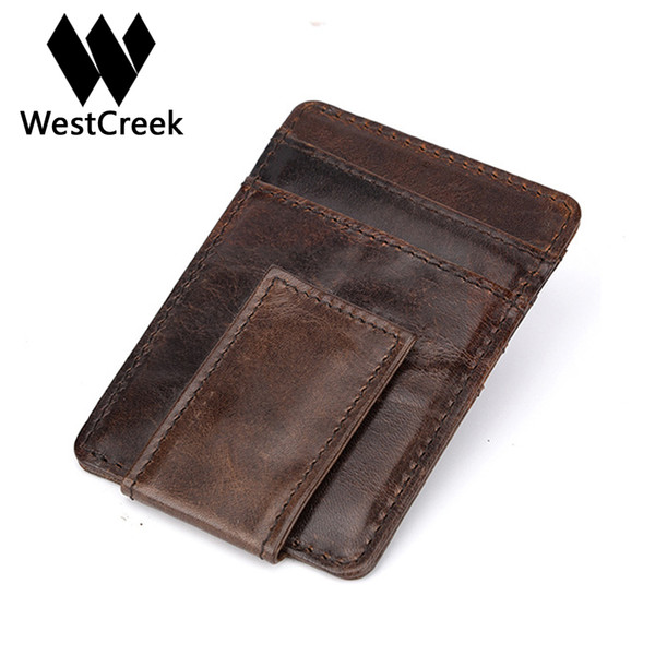 Westcreek enuine Leather Men Vintage Money Clip Front Pocket Clamp For Money Magnet Magic Thin Travel Wallets Card Case