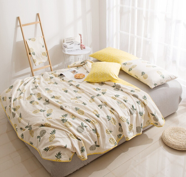Summer Quilt Washed Cotton Soft Fabric Pineapple Printing Afternoon Nap Blankets Cute Quilt for Children 110*150mm