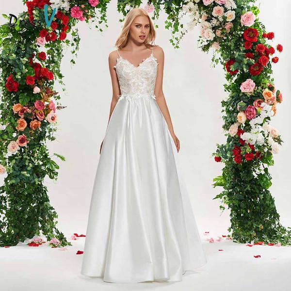 commercio all'ingrosso avorio una linea abito da sposa spaghetti cinghie appliques senza maniche lunghezza del pavimento da sposa outdoorchurch abiti da sposa