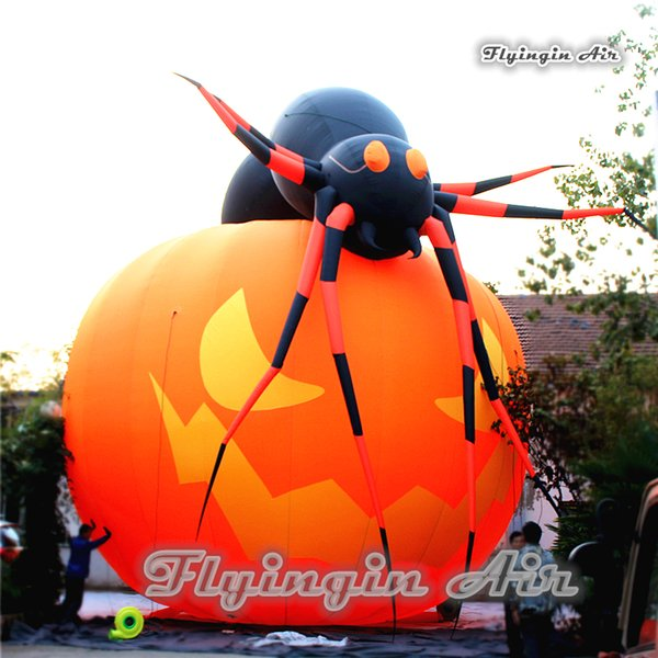 2019 Custom Halloween Inflatable Decorations Giant Smiling Pumpkin With Blow Up Spider Hat For Outdoor Event Supplies From Calmwen 427 14