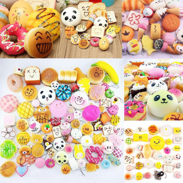 Slow Rising Squishy miniature food squishies weet meats ice cream cake bread Strawberry Bread Charm Phone Straps Soft Fruit Toys