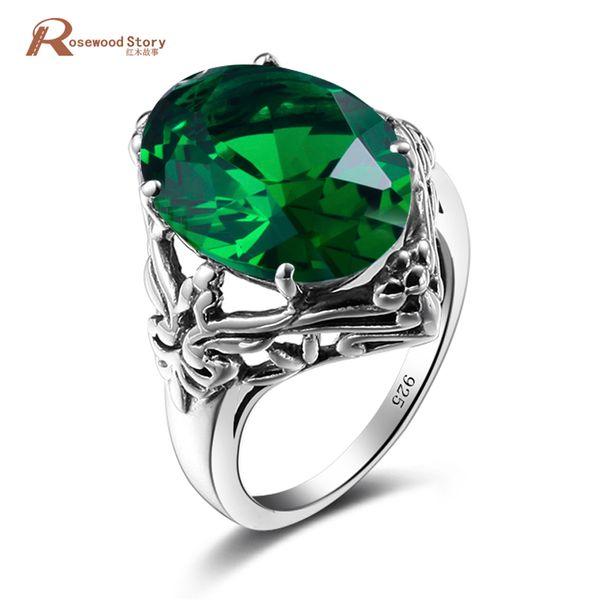 Royal Design Princesa Corte Columbia Green Stone Anel De Cristal Sólido 925 Sterling Silver Solitaire Anel De Noivado Para As Mulheres