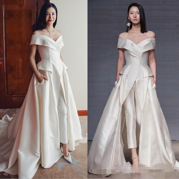 Woman Jumpsuit Off The Shoulder Long Evening Dresses 2018 Sleeveless Ruched Floor Length Formal Party Red Carpet Prom Gowns