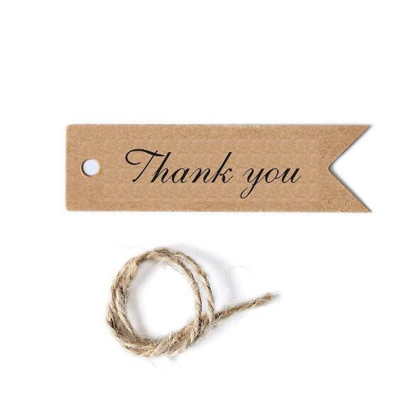 100pcs/lot brown kraft paper wedding candy cake box thank you tags handmade cupcake gift wrap decoration supplies box bags Hang Tag