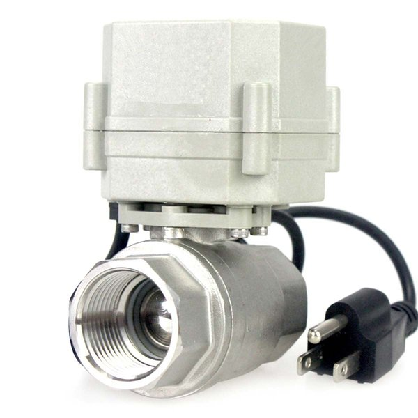 """Wholessale 1"""" DN25 110VAC Stainless Steel Motorized Ball Valve 2 Way/Zone Valve With US Plug(NC CR202 2 Wires Control Electrical Ball Valve"""
