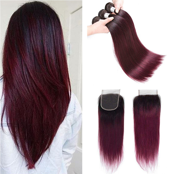 Colored Brazilian Burgundy Virgin Hair Bundles With Lace Closure 1B/99j Brazilian Ombre Straight Human Hair Weaves Extensions With Closure