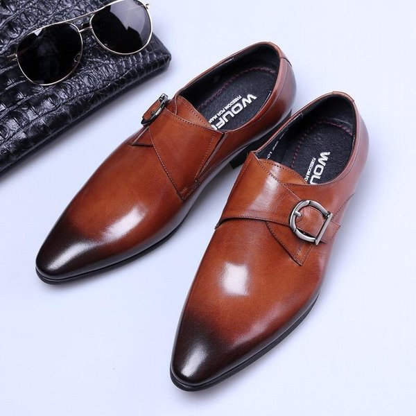 64ab2e8c79 Designer 2018 European Handmade Genuine Leather Men Brown Monk Strap Formal  Shoes Office Business Wedding Suit