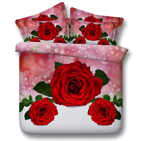 3D galaxy red rose Duvet Cover bedding sets queen floral Bedspreads Holiday Quilt Covers Bed Linen Pillow Covers cal king size home textiles