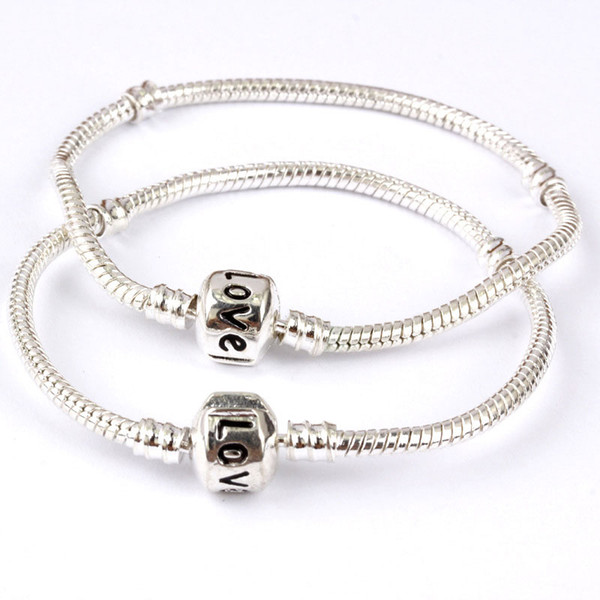 Hot sale New 16-23cm Silver Plated Love Letter Bangle Snake Chain Clasp Beads Charm Bracelets Fashion Jewelry