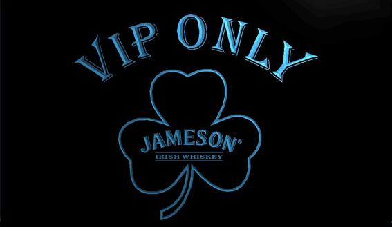LS1304-b-VIP-Only-Shamrock-Jameson-Neon-Light-Sign Decor Free Shipping Dropshipping Wholesale 8 colors to choose