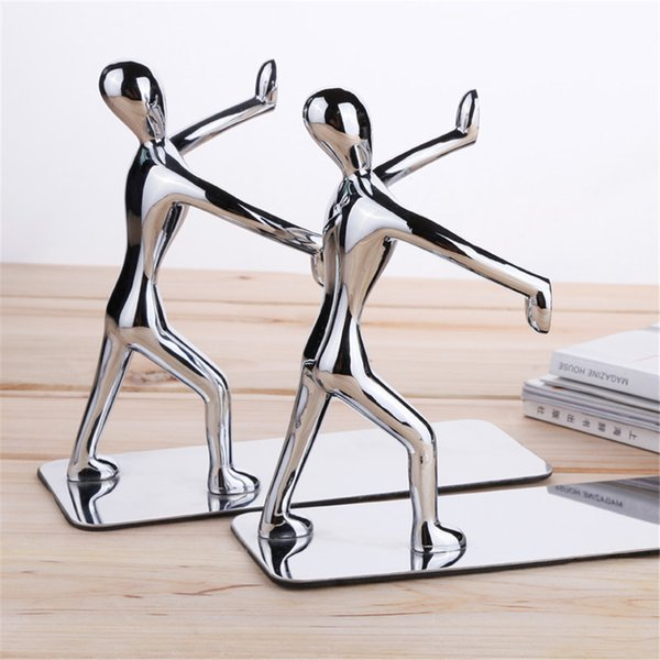 top popular 1 Pair Lot Fashion Cool Metal Stainless Steel Human-Shaped Bookend for School Stationery & Office Supply 2021