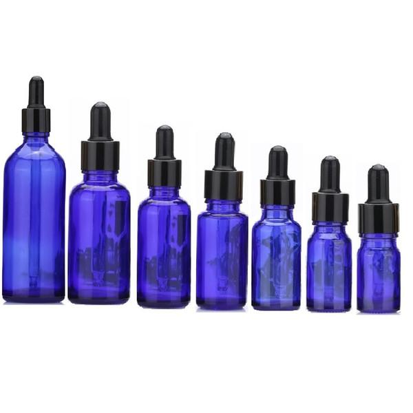 Botellas de pipeta de reactivo líquido de cristal azul Botellas de aromaterapia de cuentagotas de ojo 5ml-100ml Botellas de perfume de aceites esenciales al por mayor de DHL