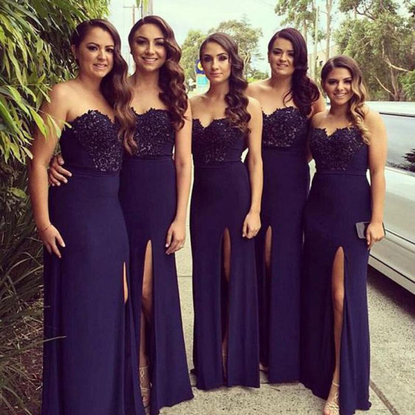 2018 Navy Blue A-Line Bridesmaid Dresses Sweetheart Off Shoulder Appliques Lace Beads High Splits Long Prom Dresses Evening Gowns