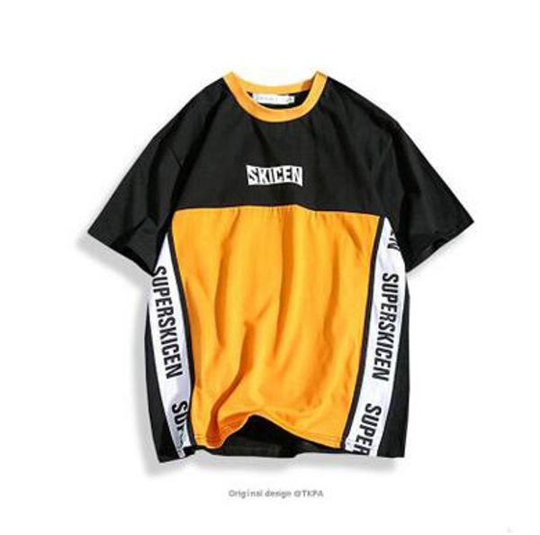 Marca Original Contraste Cor T-Shirts Europeus e Americanos Estilo Street Patchwork T-Shirts Moda Vintage Baseball Tees Esporte