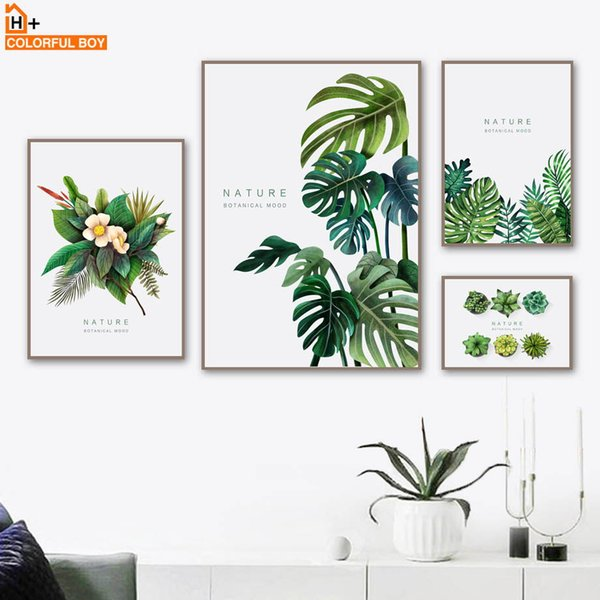 COLORFULBOY Flower Leaf Succulent Wall Art Canvas Painting Nordic Plants Posters And Prints Wall Pictures For Living Room Decor