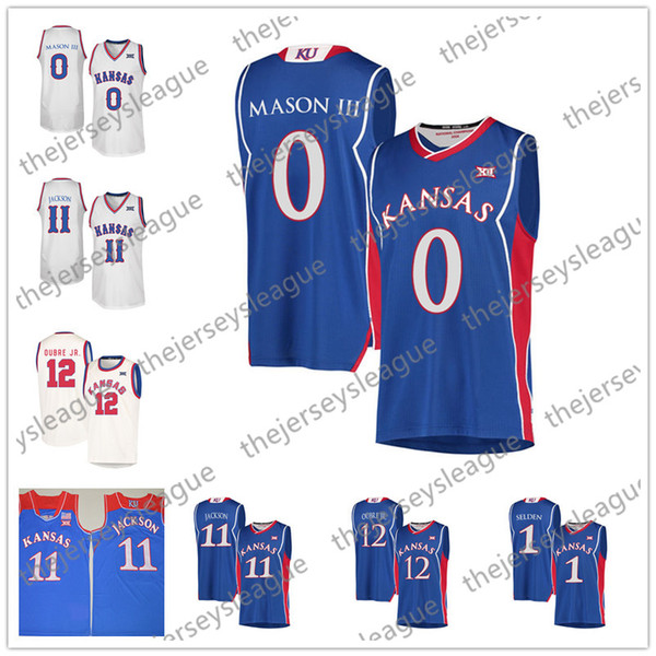 Kansas Jayhawks #0 Frank Mason III 11 Josh Jackson 1 12 Blue White Cream Retro Good Quality Stitched NCAA College Basketball Jerseys
