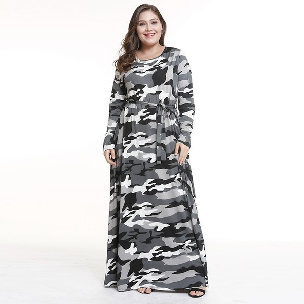 2019 Plus Size Camouflage Print Vintage Long Sleeve Autumn Winter Women  Maxi Dress Elegant O Neck Tunic Evening Party Robe Femme 2018 From  Buttonline, ...