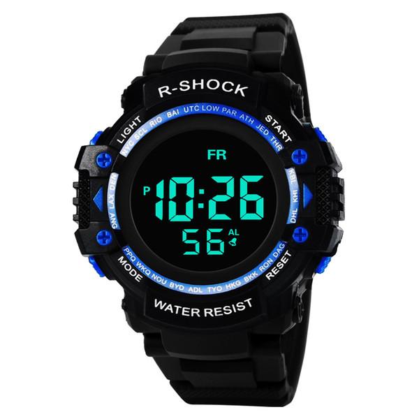 Toptan Moda çok fonksiyonlu izle erkek elektronik saatler negatif ekran siyah yüz siyah ekran büyük ekran spor izle 53-783