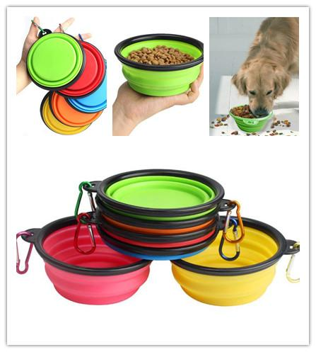 best selling New Portable Folding Silicone Pet Bowls With Hook Retractable Travel Collapsible Cat Dog Feeders Outdoor Water Dish feeding bowl