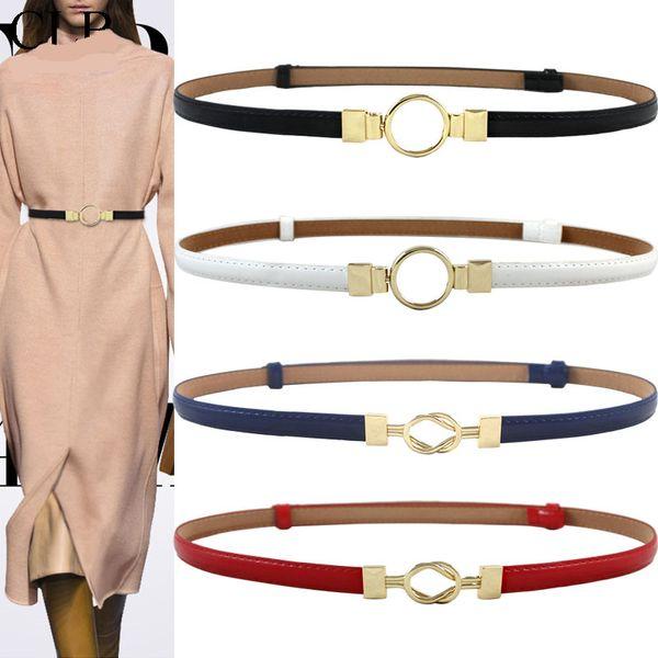 Cintura a fibbia in oro con fibbia ad ardiglione, cinture sottili in pelle per regolare il vestito rosso di design