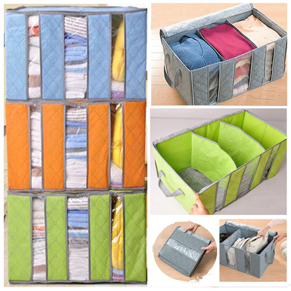 Non Woven Clothing Organizer Bags Bamboo Charcoal Pillow Quilt Folding Bedding Container Box Case Home Closet Storage Bag Kids WX9-911