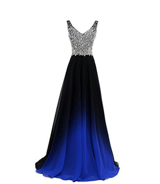 2018 new new ombre long evening prom dresses chiffon beaded a line plus size floor-length gradient formal party gown qc1242, Black