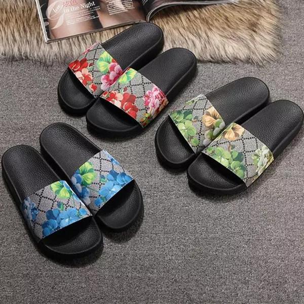 Мужчины Женщины слайд сандалии дизайнер обувь роскошь слайд летняя мода широкий плоский скользкий с толстыми сандалиями тапочки шлепанцы размер 36-45