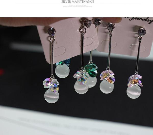 Stylish and elegant temperament long 925 silver needle stud earrings Crystal cat eye high-end earrings,Electroplating Multi-color Ladies