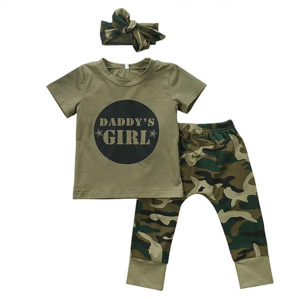 2018 nouveau-né bébé filles vêtements ensemble fille / garçon Tops T-shirt + pantalons papa tenues mignonnes Set vêtements Casual Baby Boy's Fashion