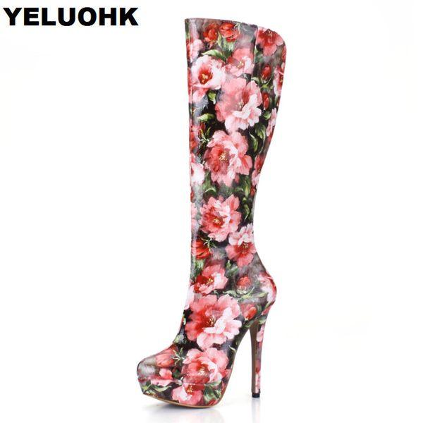 Moda Flor Joelho Botas Altas Mulheres Salto Alto Sapatos de Plataforma Confortável Mulheres Botas de Inverno Senhora Ocasional