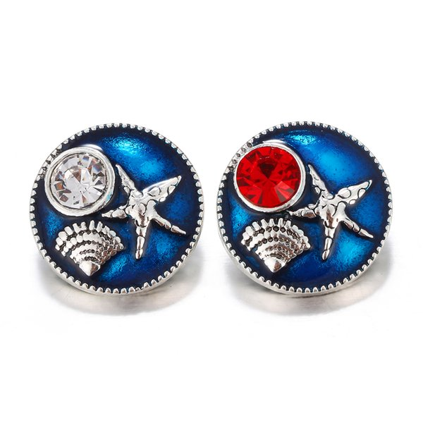 Noosa Snap Button Blue Painting Shell Starfish Pattern 18MM Snap Buttons DIY Snap Bracelet Necklace Findings Jewelry
