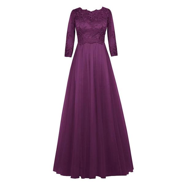 Половина рукава кружева шифон платья невесты 2019 бордовый фиолетовый королевский синий длинные платья партии Новый фрейлина платья