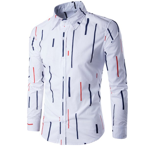 Brand 2017 Fashion Male Shirt Long-Sleeves Tops Striped Print Casual Shirt Mens Dress Shirts Slim Men Plus Size XXXL