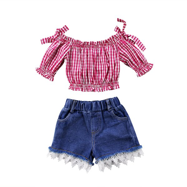 Summer Kids Baby Girls Red Plaid Off-shoulder Tops Short Jeans 2pcs Set Clothes Outfit Lace Kids Clothing Trendy Dress Fashion Baby Boutique
