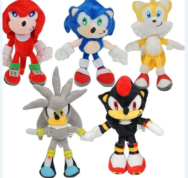 5pcs/set 23cm New Arrival Sonic The Hedgehog SEGA Sonic Stuffed Plush Soft Doll Toy gift Free Shipping