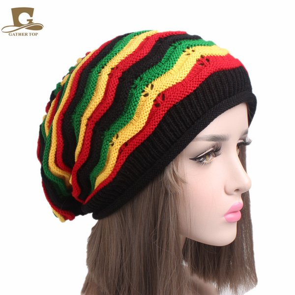 Knitted Crochet Halloween Beret Hat Cap Jamaican Reggae Rasta slouchy baggy long hat RH-007