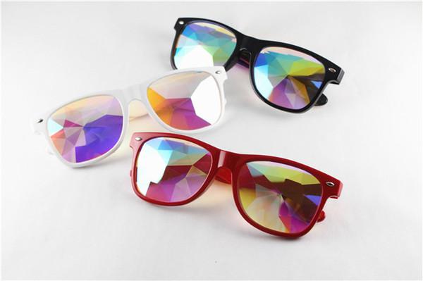 WOMEN Fashion Geometric Kaleidoscope Glasses Rainbow Rave Lens Bling Bling Prism Crystal Eyewear Party Diffraction Sunglasses