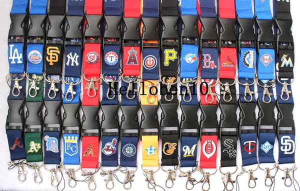Multiple colors mixed detachable baseball teams Lanyard mobile phone neck strap key chain many colors(Large quantity favorably).